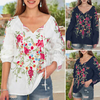 Women Puff Sleeve Neck Tie Floral Blouse Tunic Shirt Tee Ladies Casual Loose Top