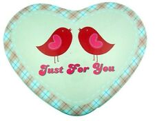 Just for You Love Birds Heart Shape Pink Tin for Candy or Valentines Day Gift