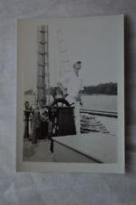 Vintage Photo Ship Captain at Helm of Sailboat 844