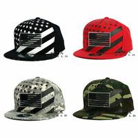 USA Flag Hat Structured Rubber Flag Snapback Flat Bill Cotton Baseball Cap