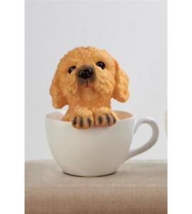 TEACUP PAL PUPPY DOG SAT IN CUP ORNAMENT BROWN COCKAPOO INDOOR PET