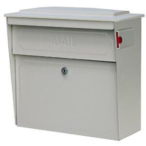 Mail Boss Wall-Mount Mailbox Large Locking Galvanized Steel Convertible White