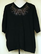Distinct Black Rhinestone Bling Neck Short Sleeve V-Neck Cotton Knit T- Shirt 3X