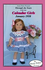 Crochet Calendar Girls January 1958 18 inch doll dress pattern by Annie Potter