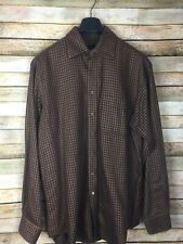 Mens Scott Barber Houndstooth Button Long Sleeve Cotton Shirt Sz L