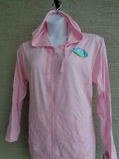 NWT Hanes Live Love Light Weight Cotton Slub Hooded Jacket L Pink