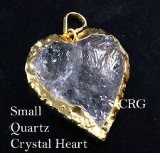 "Gold Plated Quartz Crystal Heart Pendant 1"" (HR12DG)"