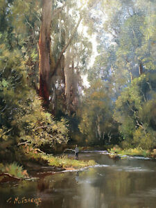 Fishing On The Yarra - Gerard Mutsaers  Canvas Prints Framed & Ready to Hang