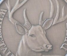 Deer coin Whitetail Buck Antiqued Nickel Hunting Gift has die crack