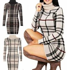 WOMENS TARTAN CHECK POLO NECK JUMPER DRESS LADIES KNITTED TUNIC PLUS SIZE 8-22