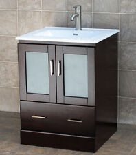 "24"" Bathroom White Vanity 24-inch Cabinet Ceramic integrated Sink MCT"