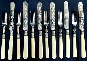 Fabulous Victorian Silver Plated Cutlery Set of 6 Dinner Knives & Forks c 1890