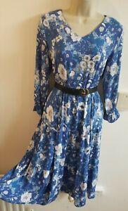 New Stunning Size M 10-12 Cottagecore Vtg Midi Ditsy Tea Dress Gd Actuel Blue