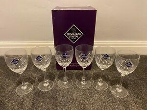 Edinburgh Crystal 6 Wine Glasses - New