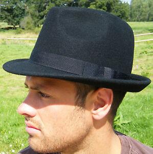 New Trilby Hat  Black Classic Original British 100% Wool Jazz XS S M L