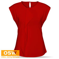 LADIES BUSINESS WORK PLEATED CORPORATE LIGHT-WEIGHT SOFT JERSEY KNIT TOP BLOUSE