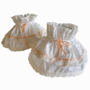 2 Lampshades Frilly Ruffled Handmade Fabric Lace Ribbon 1980s Country Cottage
