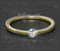Brillant 585 Gold Damen Ring, Lupenrein & River D Diamant mit 2mm, 14 Karat