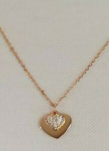 Michael Kors Heart Duo Pendant Necklace. Sterling Silver/Rose Gold Plated. CZs.