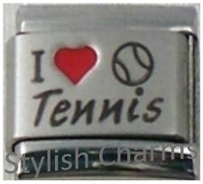 TENNIS I LOVE TENNIS RH Laser Italian Charm 9mm - 1 x SP046 Single Bracelet Link