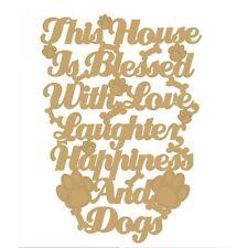 Esta Cámara es bendecido con amor, risas, alegría & Perros Placa -3 mm Mdf De Madera