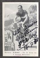 Autografo ciclista Gino Bartali su cartolina pubblicitaria Lory - 1958 (?)