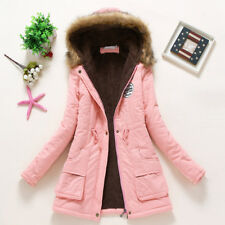 UK Womens Girls Winter Hooded Coat Long Slim Parka Jacket Overcoat Outwear HOT