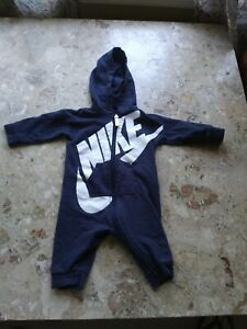 Nike Baby One Piece Outfit w/ Hood Zip Size 6-9 Months Navy Blue White