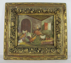 Antique 1924 ORIGINAL Oil/Canvas Painting Chickens In The Barn Signed Dated yqz