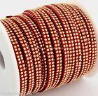 1M Cordon Daim Textile Plat 5X1,3mm/ Suedine ROUGE Brique Strassée DORE # DS51