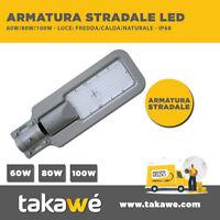 FARO PALO LED STRADALE LAMPIONE PARETE LUCE ESTERNO IP65 ARMATURA 60W 80W 100W