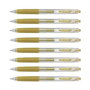 Pilot Pop'lol Metallic Gold Colour Gel Ink Pen 0.7mm Fine Color Art Craft | Pk 8