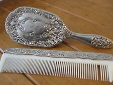 Vintage Silver plated Brush And Comb Set - Elaborate