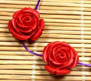 15mm Red cinnabar carved Flower beads 10PCS
