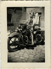 PHOTO ANCIENNE - VINTAGE SNAPSHOT - MOTO SIDE CAR MOTOCYCLETTE ENFANT -MOTORBIKE
