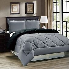 3 pcs Comforter Set Down Alternative Grey Black Reversible Twin Full Queen King
