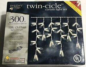 300 White & Blue Twin-Cicle Lights Holiday Time White Wire 12 FT Energy Saving