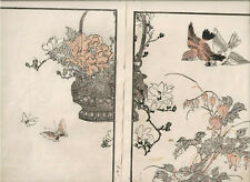 1881 double woodblock prints, Bairei, Birds Flowers, plate 12, Vol 1-3