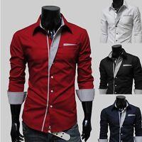 Men Slim Long Sleeve Formal Business Shirts Button Down Casual Shirt Blouse Tops