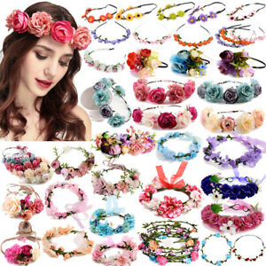 Women Wedding Boho Flower Hair Garland Crown Headband Floral Wreath Headwear Lot