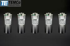 TEMCo 45/5 MFD uF Dual Run Capacitor 370 440 vac Volts 5 LOT AC Motor HVAC 45+5
