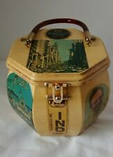 Vintage Decoupage Wood Box Purse Waldorf Astoria Indy 500 TWA Cincinnati Reds