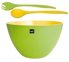 Zak Design XXL Cuenco duo verde amarillo 7,5l. y cubiertos para ensalada