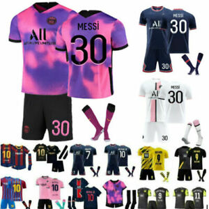 All Kids Football Kits Blue Strips Shirt Soccer Jersey 21/22 Home Training Suit