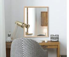 SQUARE Shape Home Decor Wall Hanging Bathroom Frame Mirror White,Oak 65x65cm