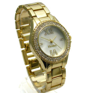 Henley Ladies Diamante Watch Gold-tone Mother of Pearl Face Gift Boxed #434