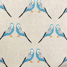 Budgie fabric  - budgerigar fabric - linen look natural - blue bird parakeet