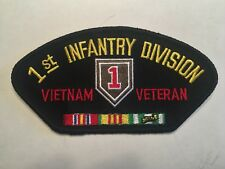 "1st Infantry Division Vietnam Veteran Ribbons Hat Patch 5-1/4"" Embroidered"