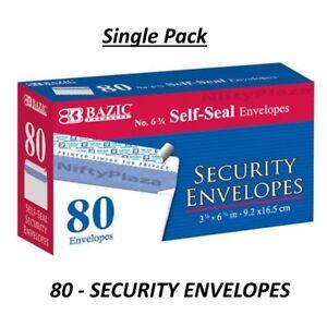 BAZIC #6 - 3/4 Peel and Seal Security Envelope Self-Adhesive Strip 80/Pack B573