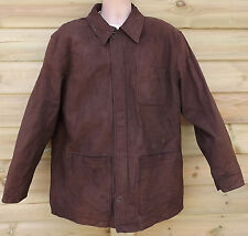 Timberland Insulated Brown Nubuck Leather Long Field Jacket - L - c2001